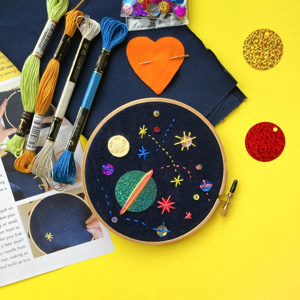 Space Embroidery Kit for Kids 5 years and up with PDF and video class included
