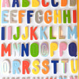 Stickers with foam alphabet letters in bright colors