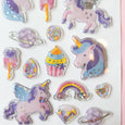 Stickers with flying unicorns in foil glitter