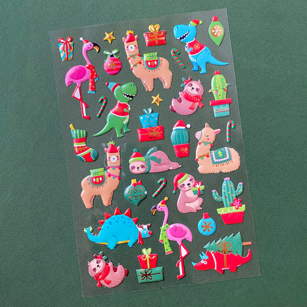Holiday stickers with images of Llamas, Dinosaurs and sloths