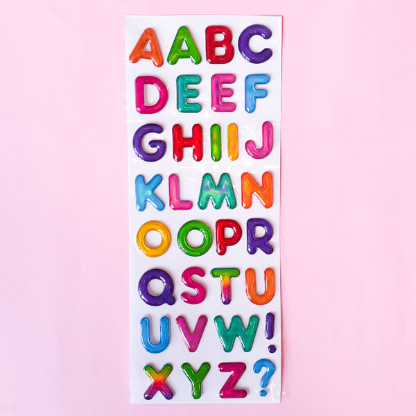 Neon Puffy Alphabet Stickers