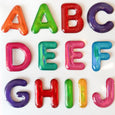 Stickers with a puffy alphabet in bright neon colors