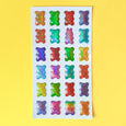 Stickers with pop up gummy bears in bright colors