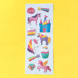 Stickers with unicorns, castles, cupcakes in a puffy foil