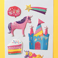 Stickers with unicorns, castles, cake, and star in a puffy foil