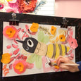 Online Mixed Media Art Class for Kids aged 3 to 8 years inspired by the book The Honeybee