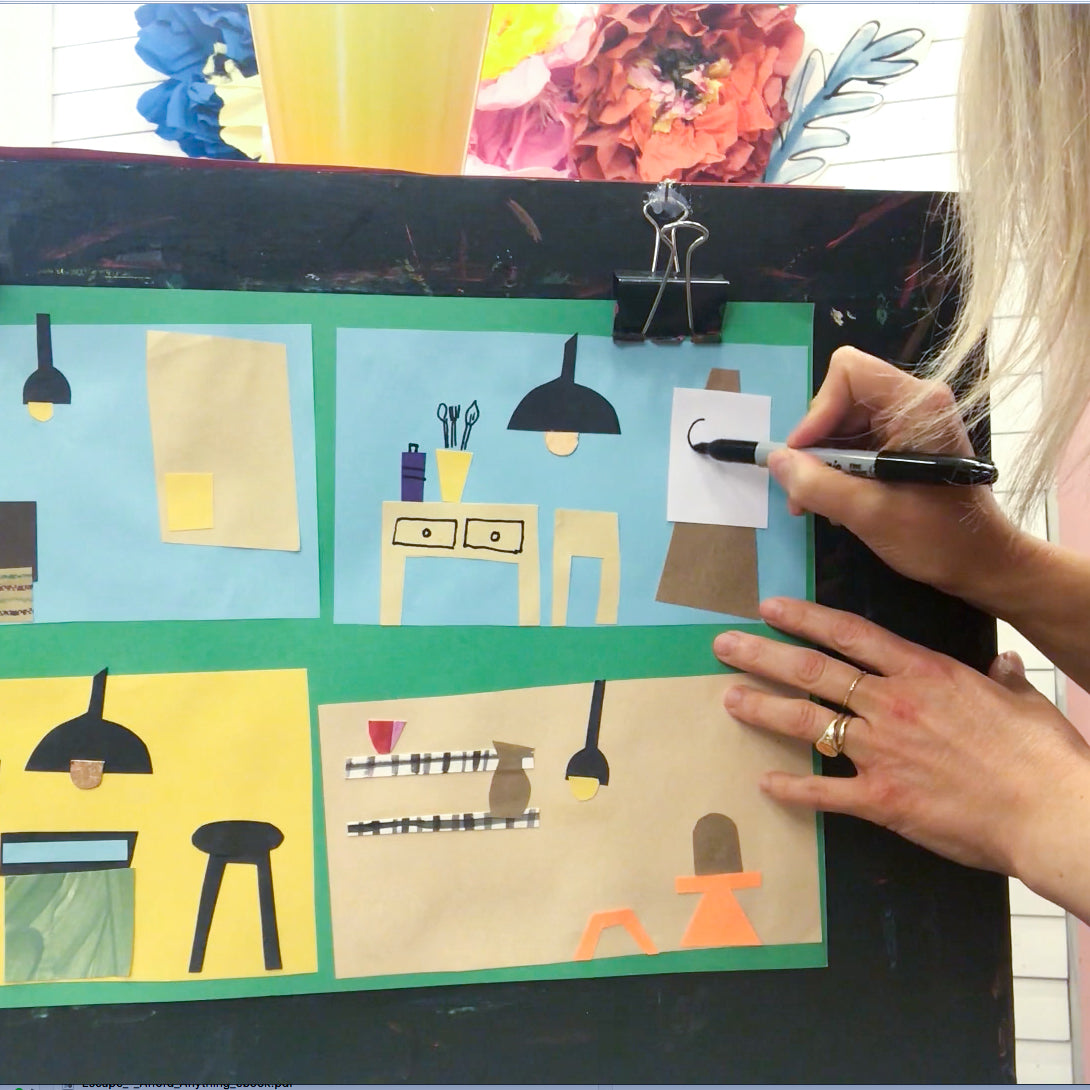 Online Mixed Media Art Class for Kids aged 3 to 8 years inspired by the book Studio a Place for Art to Start