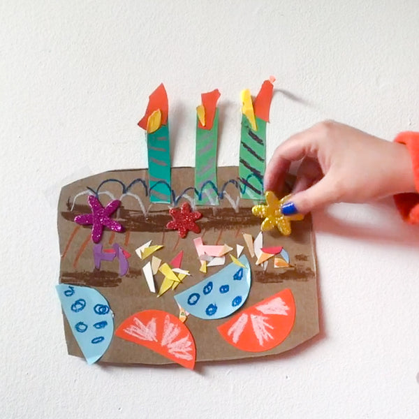 Online Mixed Media Art Class for Kids aged 3 to 8 years inspired by the book When's My Birthday