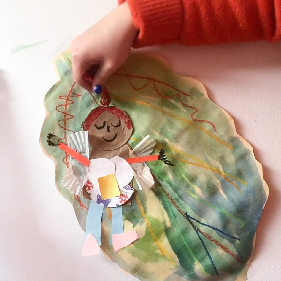 Online Mixed Media Art Class for Kids aged 3 to 8 years inspired by the book Fairy Science