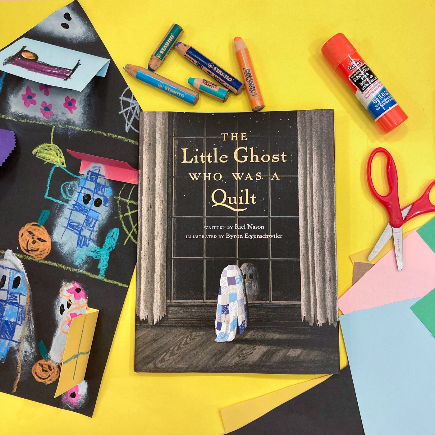 Online Mixed Media Art Class for Kids aged 3 to 8 years inspired by the book The Little Ghost who was a Quilt