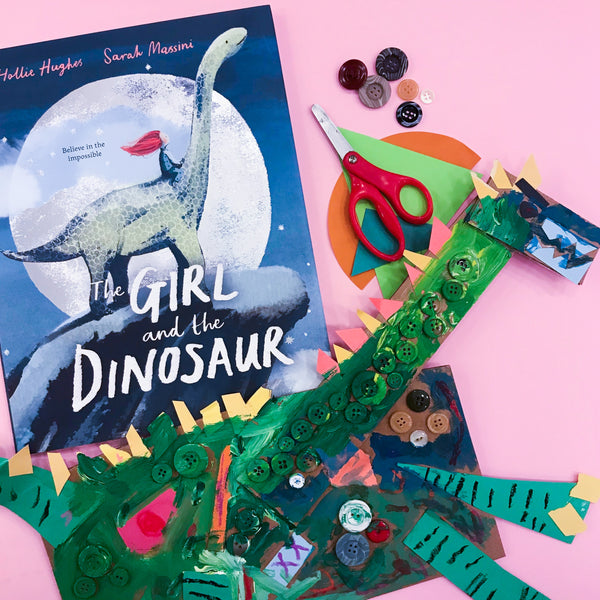 Online Mixed Media Art Class for Kids aged 3 to 8 years inspired by the book The Girl and the Dinosaur