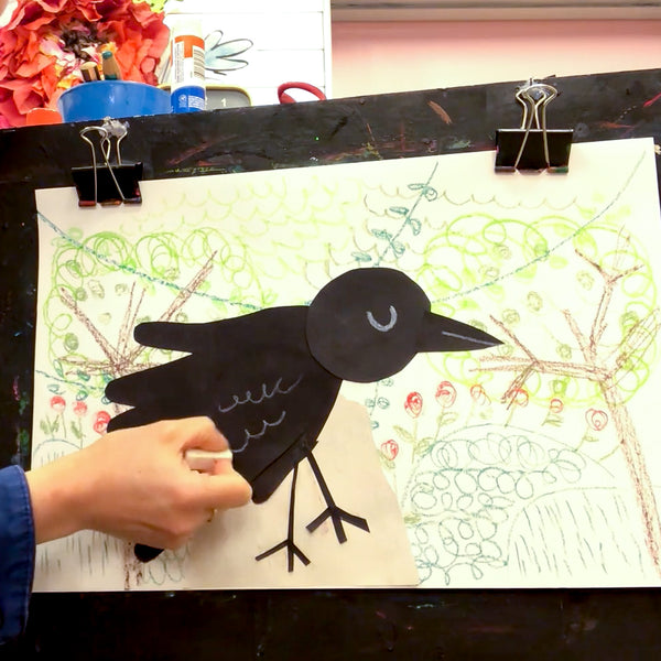Online Mixed Media Art Class for Kids aged 3 to 8 years inspired by the book Hello Crow