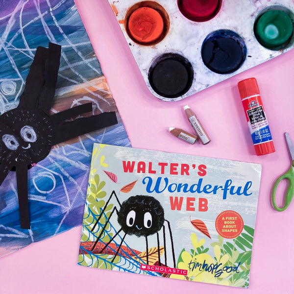 Online Mixed Media Art Class for Kids aged 3 to 8 years inspired by the book Walter's Wonderful Web