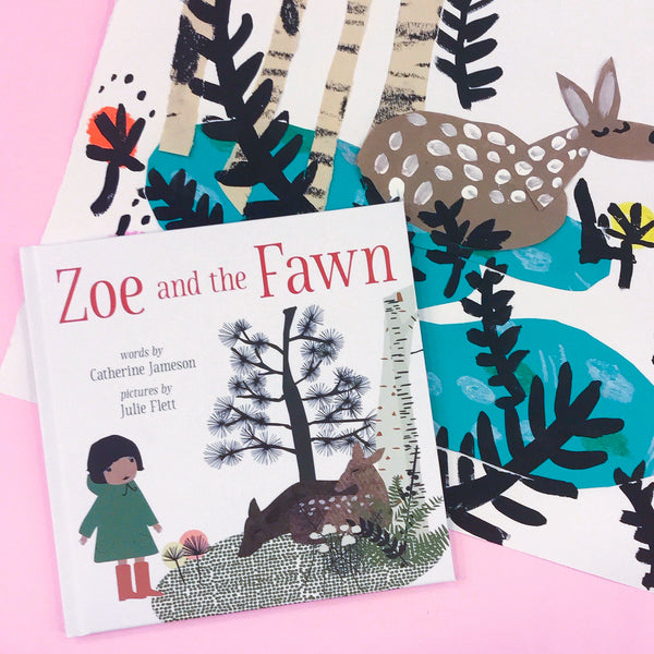 Online Mixed Media Art Class for Kids aged 3 to 8 years inspired by the book Zoe and the Fawn