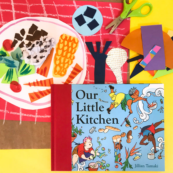 Online Mixed Media Art Class for Kids aged 3 to 8 years inspired by the book Our Little Kitchen