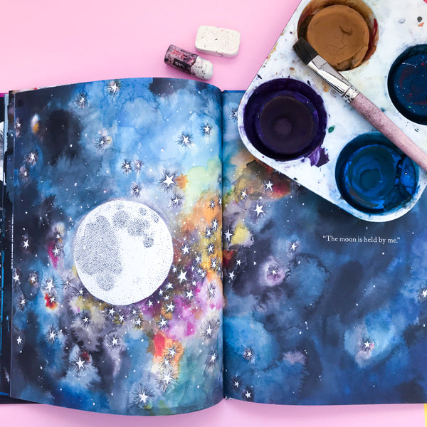 Online Mixed Media Art Class for Kids aged 3 to 8 years inspired by the book Whose Moon is That