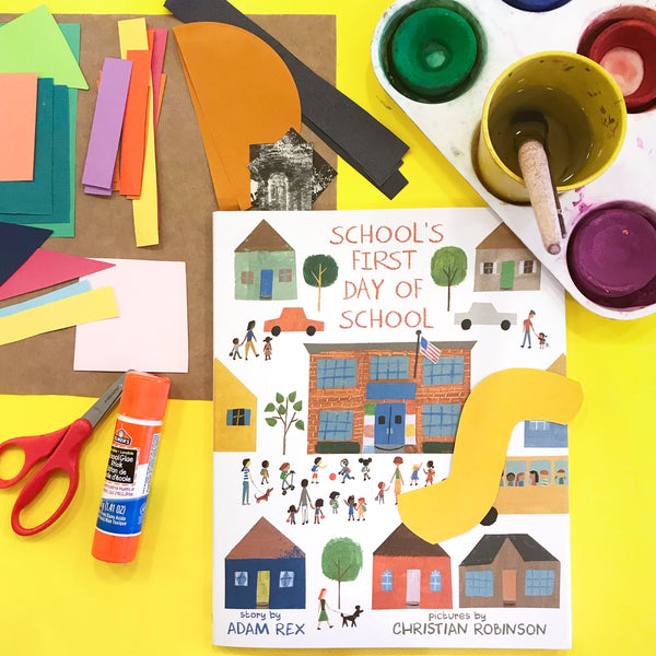 Online Mixed Media Art Class for Kids aged 3 to 8 years inspired by the book School's First Day of School