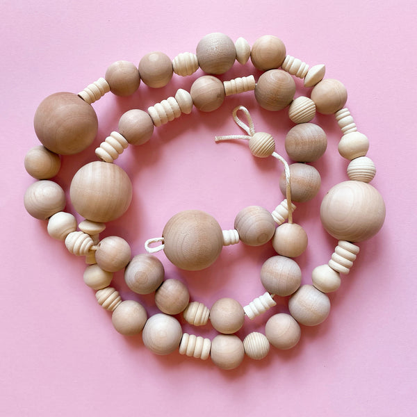 Wood Bead Garland Kit with Natural coloured beads