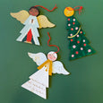 Two wooden painted angle ornaments and a painted christmas tree ornament