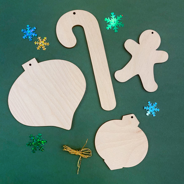 Collection of 4 wooden ornaments to paint inspired by the book The Sweet Smell of Christmas