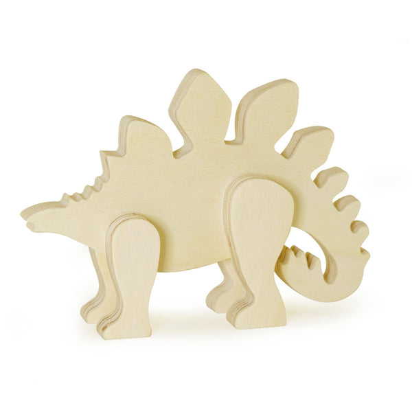 Wooden Paintable Standing Stegosaurus Small