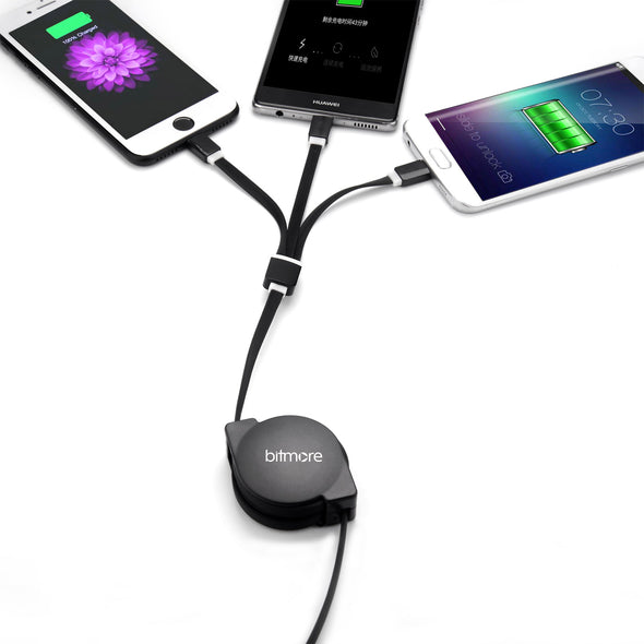 Bitmore® 3 in 1 Retractable Fast Charge Cable - bitmore.co.uk