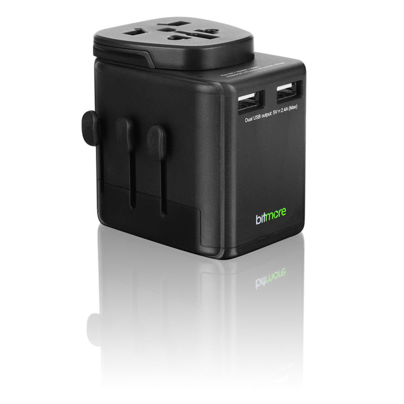 Bitmore® Universal Worldwide Travel Adapter with USB Ports - BS8546 Certified