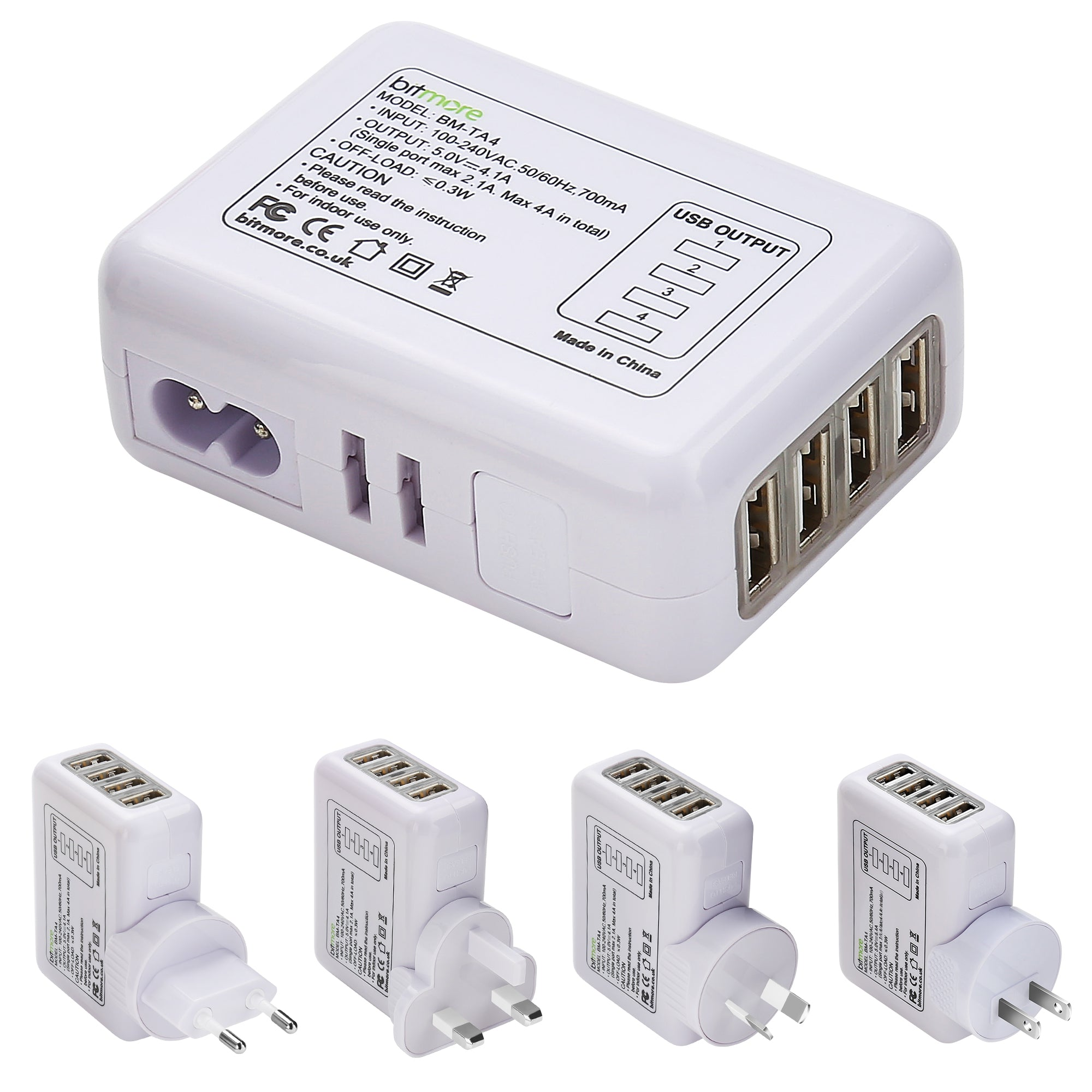 Bitmore® Travel Charger - 4 port USB Hub Adapter - bitmore.co.uk