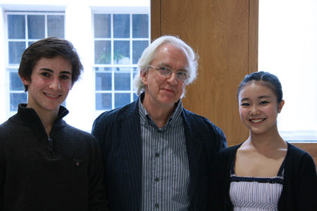 Tristan Dyer and Shiori Kase with David Bain at the awards presentation