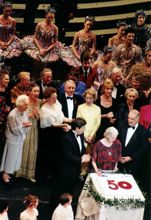 Dame Ninette de Valois with past and present members of the Company in 1996 at the celebration of the 50th anniversary of the first performance of The Sleeping Beauty