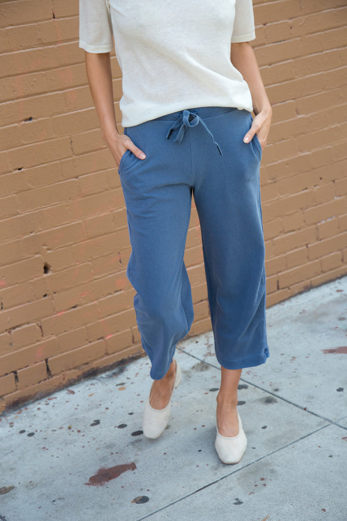 stateside french terry pant in navy