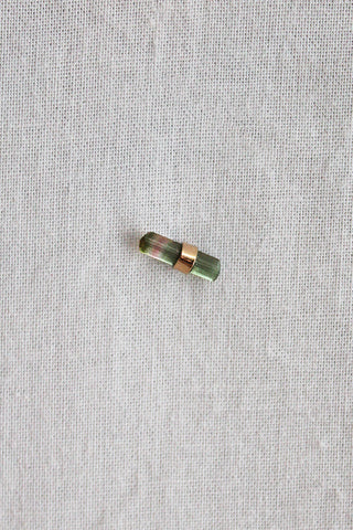 better late than never mixed metal watermelon tourmaline bar stud single