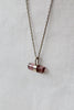 better late than never pink tourmaline crystal drop necklace