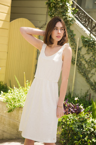 des petits hauts izu dress in ecru and marine
