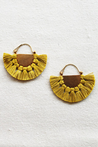 hazel cox lunar earrings in mustard