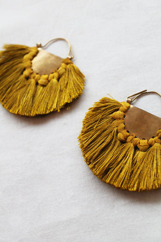 hazel cox solar earrings in mustard