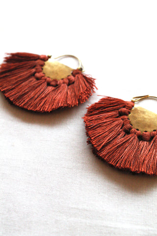hazel cox solar earrings in rust