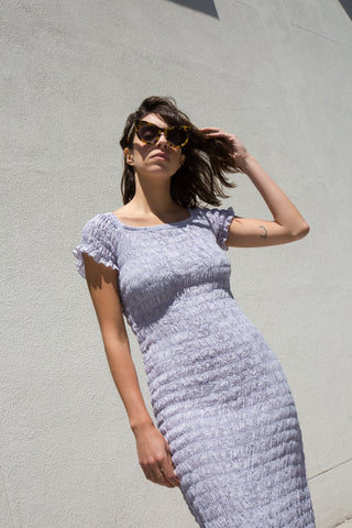 lacausa smocked dress in lilac