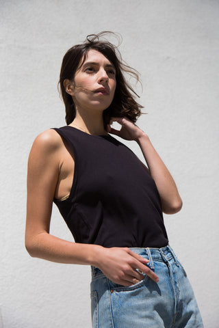 lacausa tiny muscle tank in black