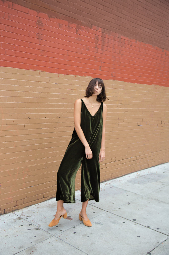 lacausa velvet santi jumpsuit in basil