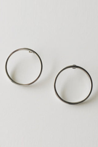 machete halo side hoop earring in silver