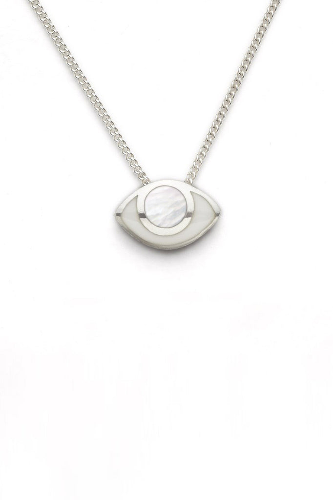 marta pia third eye sterling silver necklace with mother of pearl