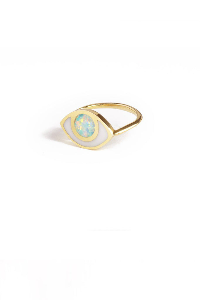 marta pia third eye gold ring with opal