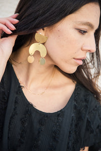 modern weaving brass moon dancer earrings
