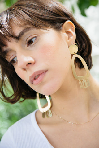 modern weaving brass odd oval fringe earrings