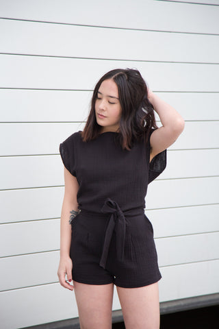 ozma tie romper in black