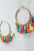 sheila b multi-color tassel hoop earrings
