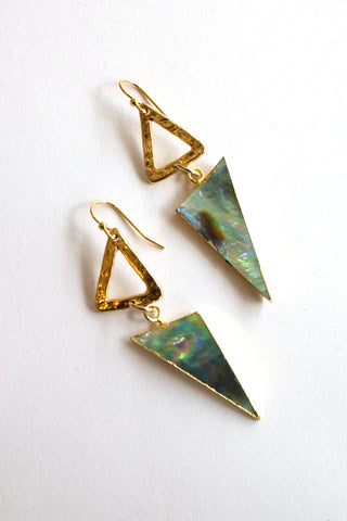sheila b triangle abalone earrings