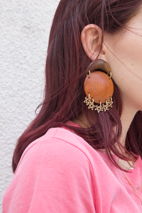 sheila b vintage teak earrings
