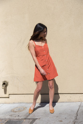 side party joey dress in rust